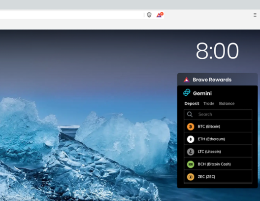 gemini trading widget coin list on brave browser