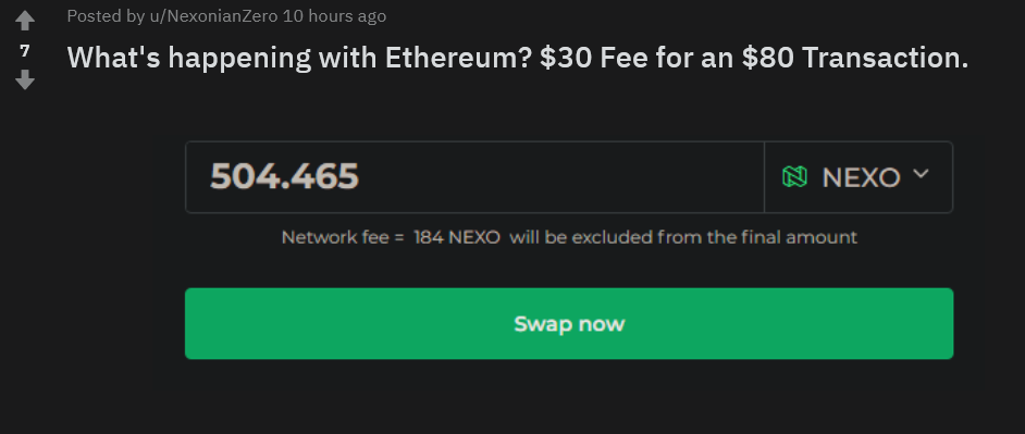 High fees for nexo